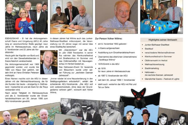 AEU-Sonderseite  – Volker Willms wird verabschiedet nach 40 Jahren aktiver Arbeit in der AEU